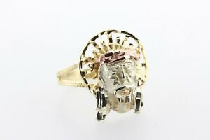 14K Tri Color Gold Diamond-Cut Textured Jesus Head Face Ring - Size 8