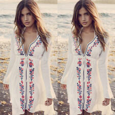 Boho Womens Lace Crochet Floral Summer Beach Casual Swimwear Mini Slim Dress
