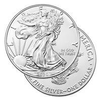 Lot of 2 Silver 2020 American Eagle 1 oz. Coins .999 fine silver US Eagles 1oz