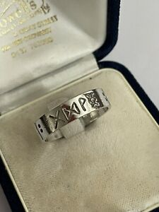 Vintage Sterling Silver Norse Viking Runes Men's Band Dress Ring Size X 4.1g