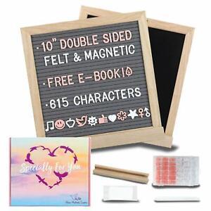 SkyFelt Felt Letter Board + Letters–10x10 Gray/Black 2in1 Magnetic Chalkboard