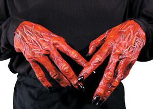 HALLOWEEN ADULT DEVIL DEMON  HANDS GLOVES  PROP