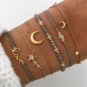New Fashion Women 6Pcs Crystal Moon Star Adjustable Open Bangle Bracelet Jewelry