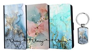 PERSONALISED Name Flip Leather Marble Wallet Case iPhone Samsung Huawei+ Keyring