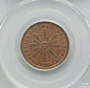 1854/40 URUGUAY REP. COPPER 5 CENTESIMOS PCGS MS-63