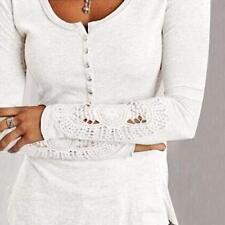 Fashion Women Long Sleeve Shirt Casual Lace Blouse Loose Cotton Tops T Shirt US