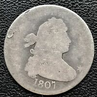 1807 Draped Bust Quarter Dollar 25c genuine RARE  Early Type Coin #6017