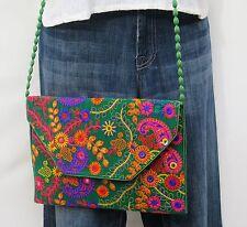 Paisley Embroidery Gypsy Banjara Crossover Shoulder Bag Boho Bohemian 60s Style