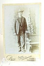 Antique Photo Card Early 1800s Century RARE EASTERN Cowboy & Pew Photograph