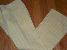 Vtg 60s 70s Jantzen Mod Seersucker Golf Pants Yellow & White Sz 31 W x 33-34 L