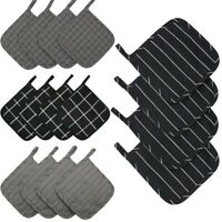 Set of 4 100% Cotton Kitchen Quilted Pot Holders Heat Resistant Hot Pan Mat Pads