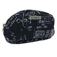 Beauty porta oggetti COMIX in cordura fantasia nero con zip 11x17,5x5 cm circa