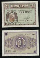 ESPAÑA año 1938. 1 peseta FEBRERO serie F. Nº 7551811. Escudo de Franco. RARA.