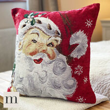 Luxury Woven Chenille Red Santa Father Christmas Festive Cushion Cover 17""