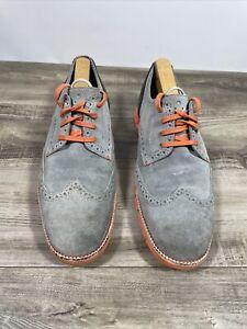 Cole Haan Zerogrand Gray Nubuck Leather Wingtip Oxford Shoes Mens Sz.10.5 M