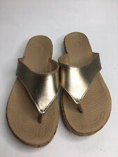 Women's CROCS 15661 Gold Thong Cork Bottom Sandals •Size 8 *EUC