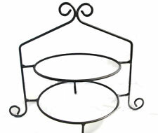 Black Wrought Iron Cupcake Cake Pie Plate Holder Double Rack 2 Tier Stand USA