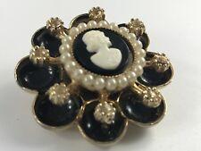 Vintage Black Cameo Cora Pin Rhinestones Faux Pearls