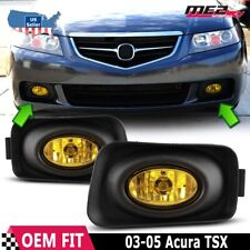 For Acura TSX 04-05 Factory Replacement Fit Fog Lights + Wiring Kit Yellow Lens