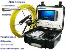 Sewer Drain Pipe Cleaning 1' Video Snake Camera 100 FT Cable 7'' Display  USB SD