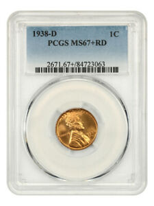 1938-D 1c PCGS MS67+ RD - Lincoln Cent