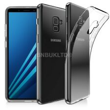 For Samsung Galaxy A8 (2018) Clear Slim Gel Case & Glass Screen Protector
