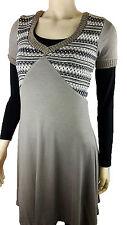 Kleid Stiefelkleid Strickkleid Ausgestellte Form Kurzarm Taupe 36 38