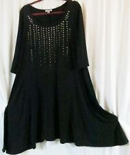 avenue Dress 14/16 Black Solid Sequins 3/4 Sleeves Knee Length