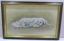 Framed Signed Small Janet Payne Painting of a White Spaniel Dog