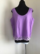 a871ec52eef886 Bob Mackie Wearable Art Lavender White Embroidery Cut Out Shell Tank Top  Linen L