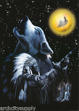 Poster : Wolf - Howling & Indian Chief - Free Shipping ! #Pp0321 Lw2 E