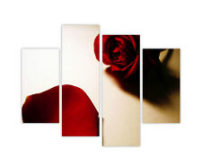 RED ROSE PETAL FRAMED PICTURES CANVAS PRINTS 4 PIECE WALL ART POSTER FLORAL ART