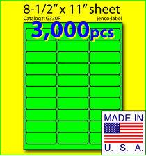 G330R, 3,000 Green Fluorescent Address Labels, 2-5/8x1