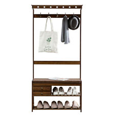 Large Bamboo Clothes Coat Storage Rack Stand Hanger for Home Entryway 3-In-1
