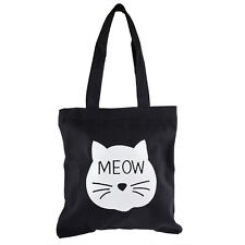 Cat Meow Shoulder Tote Bag Lux Accessories Black White Kitty