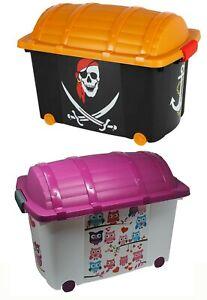 Spielzeugkiste Piratenbox Jungen Mädchen Aufbewahrung Rollen Truhe Schatzkiste