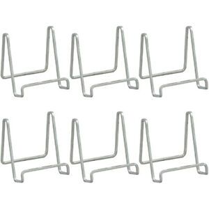 """Metal Square Wire Easel Plate Holder Book Display Stand, Silver, 6"""", Set of 6"""