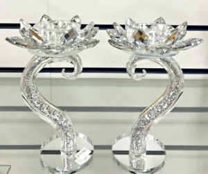 Sparkly Crushed Diamond Set of 2 Candle Holder Faceted Balls Decorative Silver✨