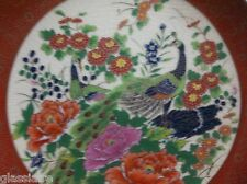 "Vintage Japanese SATSUMA Plate PEACOCKS Flowers GOLD GILT 6.25"""