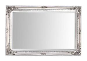 "Rhone Large Rectangle Wall Mirror - Living Room Mirror - 60x90cm 34""x36""- Silver"