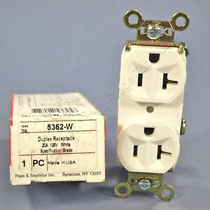 New Pass & Seymour White Specification Grade Receptacle Outlet 5-20R 20A 5362-W