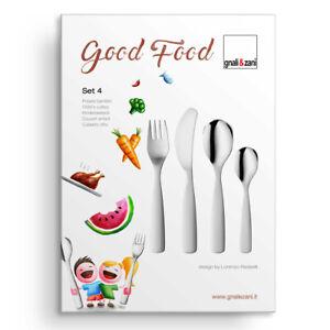 Kinderbesteck Good Food ohne Motiv blank schwer 4-teilig m Gravur personalisiert