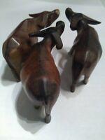 Hand Carved Vintage Wooden Bull Horned Cow Brown Ranch Western Desk Shelf Decor