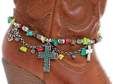 Western Cowgirl Jewelry Antique Silver Faux Turquoise Beaded Cross Boot Bracelet