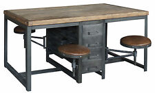 "70"" L Work table Industrial Iron Desk elm wood Leather Covered Adjustable seats"