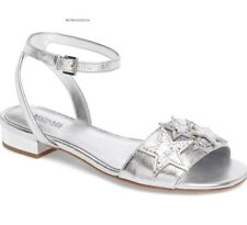 MICHAEL KORS women's ANKLE STRAP LEXIE SANDALS Star Embellished Leather GREY 8 M