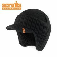 SCRUFFS BLACK WARM WINTER PEAKED BEANIE THERMAL INSULATED OUTDOOR WORK HAT CAP