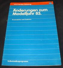 Information Änderungen Modelljahr 1983 VW Audi 1,8 l Motor 2E2 Vergaser 2,2l 5E