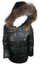 Ladies Women 100% Leather Winter Jacket Puffer Hooded Fur Black