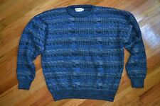 Men's XL Blue Textured UGLY Sweater Vintage 80's Made in USA Mint Condition!